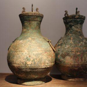 prachtig paar KHMER vazen in brons