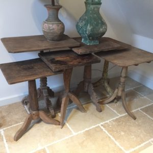 collection of side tables in elmwood